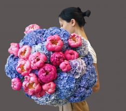 bouquet of peonies and hydrangeas