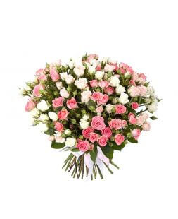 Bouquet of 55 white and pink roses
