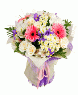 bouquet of white roses, irises, gerberas