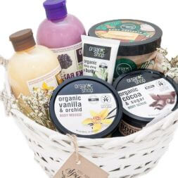 gift basket with organic cosmetics