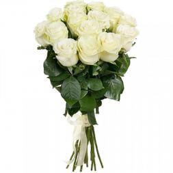 long white roses in a bouquet