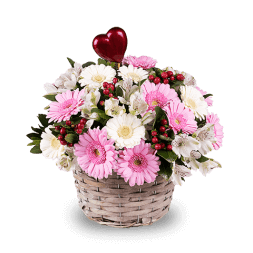 Bouquet of gerberas in a basket