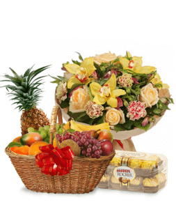 set of flower bouquet and fruit basket