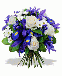 bouquet of roses, irises, chrysanthemums
