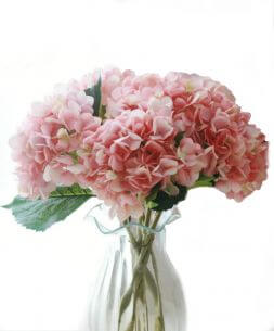 bouquet of pink artificial hydrangeas