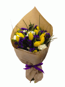 bouquet of tulips, irises and roses