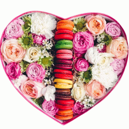composition of colored roses, macaroons