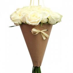 bouquet of white roses in a cone