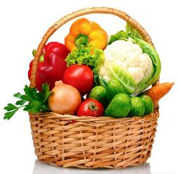 average basket with vegetables