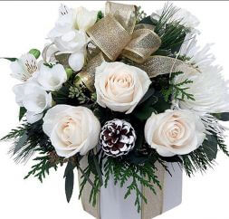 New Year bouquet of white flowers