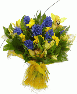 bouquet of yellow orchids, alstroemerias