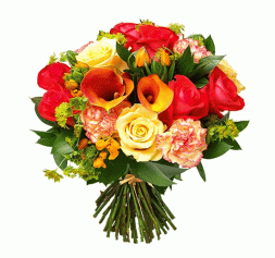 bouquet of carnations, callas and roses