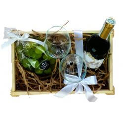 gift set with glasses and wine