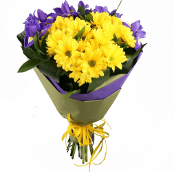 bouquet of chrysanthemum and iris