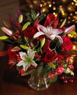 Christmas bouquet with lilies