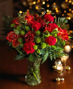 Christmas bouquet of red carnations