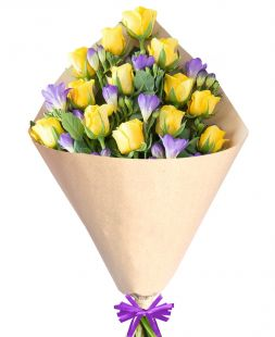 purple freesia and yellow roses