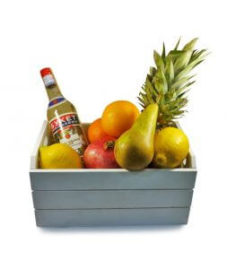 basket with fruits and vermouth
