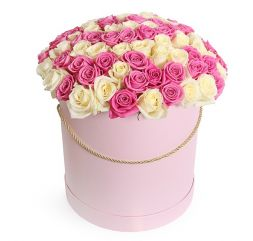 101 white and pink roses in a hatbox