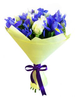 bouquet of whire roses and blue irises