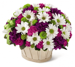 Chrysanthemums and carnation basket