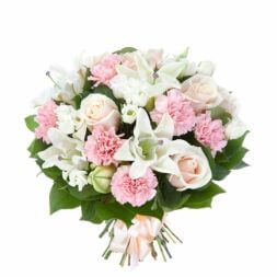 bouquet of roses, lilies and carnations