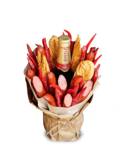 original bouquet of sausage and beer