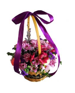 basket of spray roses and chrysanthemums