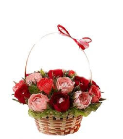 bouquet of sweets in a basket
