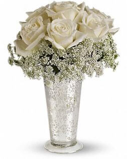 bouquet of white roses in a vase