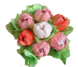 bouquet of colored peonies from sweets