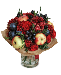 original bouquet of fruits and roses