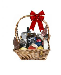 gift basket with whisky Jack Daniels