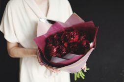 bouquet of burgundy peonies