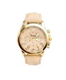 womens watch with beige watchband