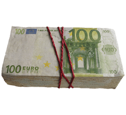 cake with a picture of banknote 100 euro