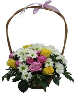 chrysanthemums and roses basket