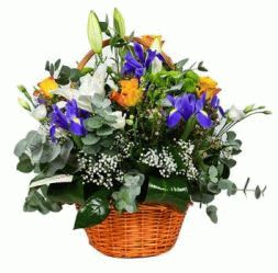 basket of irises, lilies, roses, eustoma