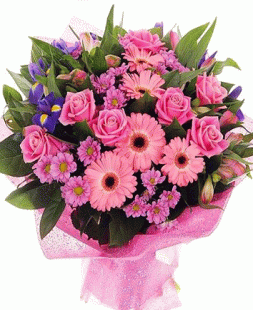 bouquet of roses, irises and gerberas