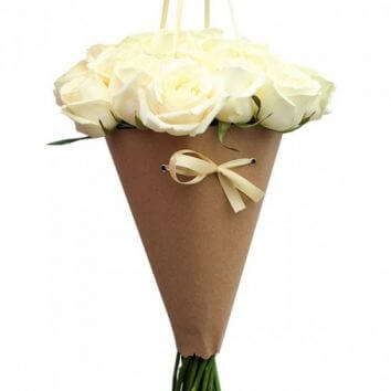 Bouquet of roses in a cone