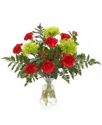 Bouquet of red carnations and green chrysanthemums