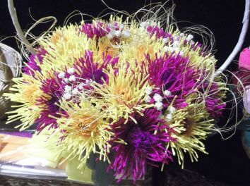 Chrysanthemums from chocolates and crepe paper